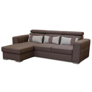TEMPO KONDELA Chris L/P rohová sedačka s rozkladom a úložným priestorom hnedá / béžová
