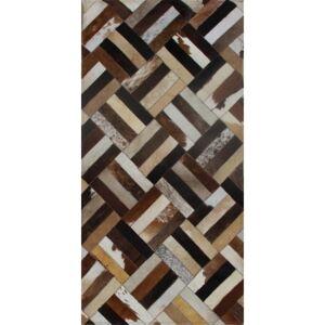 TEMPO KONDELA Typ 2 kožený koberec 70x140 cm vzor patchwork