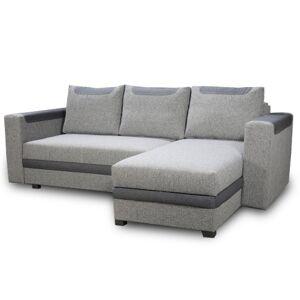 TEMPO KONDELA Bona L/P rohová sedačka s rozkladom a úložným priestorom sivá