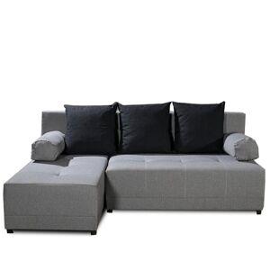 KONDELA Mexx L rohová sedačka s rozkladom a úložným priestorom sivá / čierna