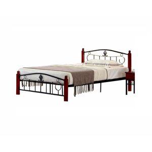 TEMPO KONDELA Magenta 140 kovová manželská posteľ s roštom čierna / tmavý dub