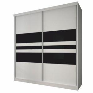 KONDELA Multi 11 2D šatníková skriňa 233x218 cm biela / čierna