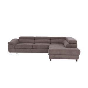 TEMPO KONDELA Legas P rohová sedačka s rozkladom a úložným priestorom hnedá