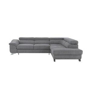 TEMPO KONDELA Legas P rohová sedačka s rozkladom a úložným priestorom sivá