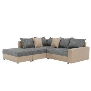 TEMPO KONDELA Ida New L rohová sedačka béžová / sivobéžová melírovaná
