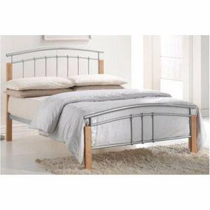 TEMPO KONDELA Mirela 180 kovová manželská posteľ s roštom prírodná / strieborná