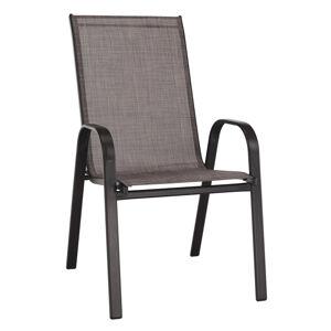 KONDELA Aldera záhradná stolička hnedý melír / hnedá