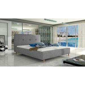 NABBI Alegro 140 čalúnená manželská posteľ s roštom svetlosivá
