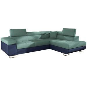 NABBI Almero P rohová sedačka s rozkladom a úložným priestorom mentolová / modrá