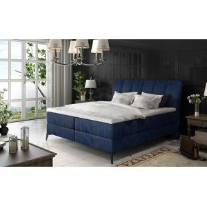 NABBI Altama 140 čalúnená manželská posteľ s úložným priestorom tmavomodrá