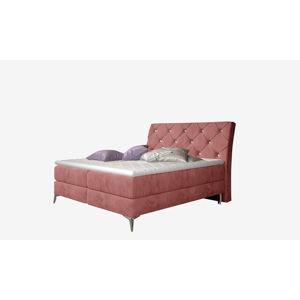 NABBI Amika 140 čalúnená manželská posteľ s úložným priestorom ružová (Kronos 29)