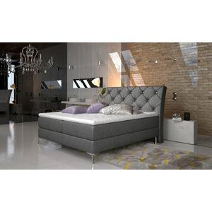 NABBI Amika 180 čalúnená manželská posteľ s úložným priestorom čierna (Dora 96)
