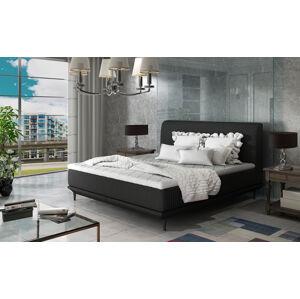NABBI Ancona 160 čalúnená manželská posteľ čierna (Sawana 14)