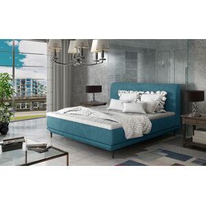 NABBI Ancona 160 čalúnená manželská posteľ tyrkysová