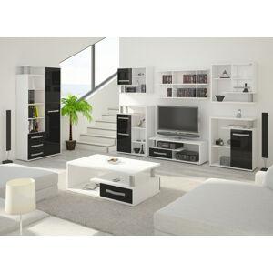 MEBLOCROSS Angel obývacia izba biela / čierny lesk
