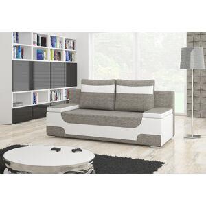 NABBI Aosta rozkladacia pohovka s úložným priestorom sivá (Berlin 01) / biela (Soft 17)