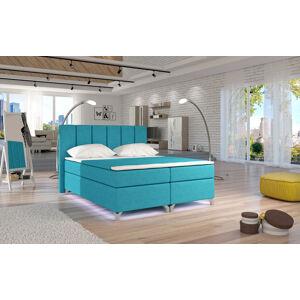 NABBI Barino 140 čalúnená manželská posteľ s úložným priestorom svetlomodrá
