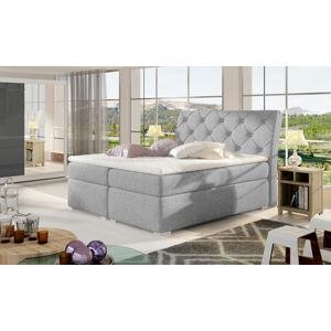 NABBI Beneto 160 čalúnená manželská posteľ s úložným priestorom svetlosivá (Sawana 21)