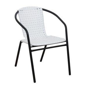 KONDELA Bergola záhradná stolička biela / čierna