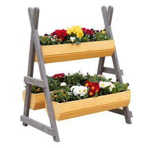 KONDELA Beron drevený stojan na kvety prírodná / sivá