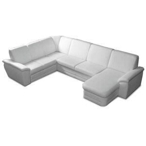 TEMPO KONDELA Biter U L rohová sedačka u s rozkladom a úložným priestorom biela