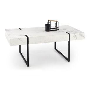 HALMAR Blanca konferenčný stolík biely mramor / čierna