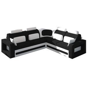 NABBI Bolzano P rohová sedačka s rozkladom a úložným priestorom čierna (Sawana 14) / biela (Soft 17)