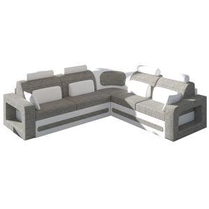 NABBI Bolzano P rohová sedačka s rozkladom a úložným priestorom sivá (Berlin 01) / biela (Soft 17)