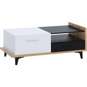 MEBLOCROSS Box Box-03 konferenčný stolík sonoma svetlá / biela / čierna