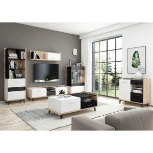MEBLOCROSS Box obývacia izba sonoma svetlá / biela / čierna