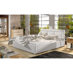 NABBI Branco 160 čalúnená manželská posteľ s roštom biela