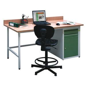 NABBI C dielenský pc stôl svetlosivá / zelená