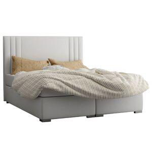 TEMPO KONDELA Martini čalúnená manželská posteľ s matracom svetlosivá