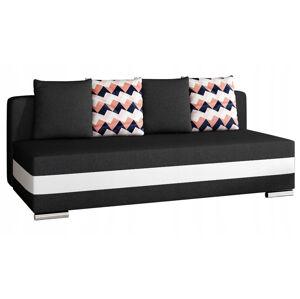 NABBI Copparo rozkladacia pohovka s úložným priestorom čierna / biela / vzor
