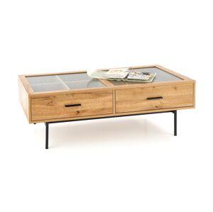 HALMAR Costanza konferenčný stolík s úložným priestorom dub prírodný / čierna / priehľadná