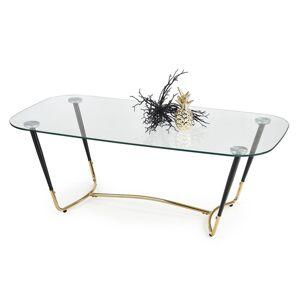 HALMAR Dalia sklenený konferenčný stolík priehľadná / čierna / zlatá