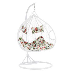 KONDELA Dalvea New závesné hojdacie kreslo biela / vzor kvety