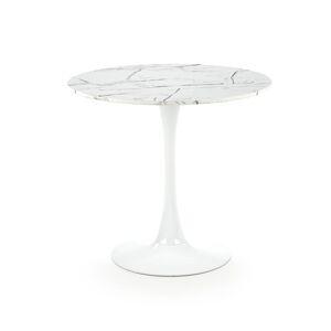 HALMAR Denver okrúhly jedálenský stôl biely mramor / biela