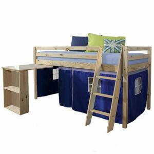 TEMPO KONDELA Alzena 90 drevená poschodová posteľ s roštom borovica / modrá