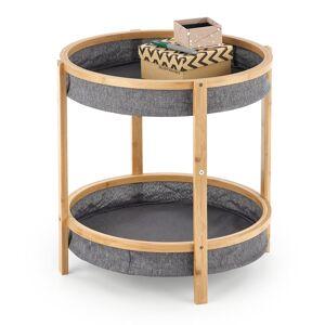 HALMAR Emma okrúhly príručný stolík sivá / prírodná