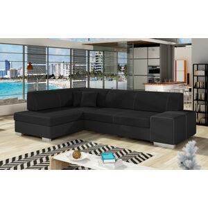 NABBI Ferol L rohová sedačka s rozkladom a úložným priestorom čierna (Sawana 14) / čierna (Soft 11)