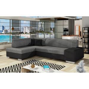 NABBI Ferol L rohová sedačka s rozkladom a úložným priestorom sivá (Sawana 05) / čierna (Soft 11)