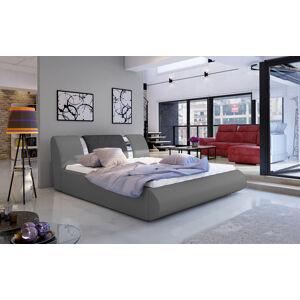 NABBI Folino 140 čalúnená manželská posteľ s roštom sivá / tmavosivá
