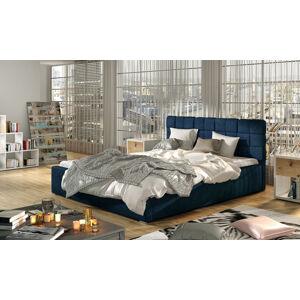 NABBI Galimo UP 180 čalúnená manželská posteľ s roštom tmavomodrá