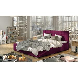 NABBI Galimo 180 čalúnená manželská posteľ s roštom vínová