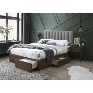 HALMAR Gorashi 160 manželská posteľ s roštom a úložným priestorom orech / sivá
