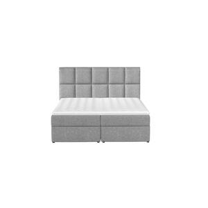 NABBI Grosio 145 čalúnená manželská posteľ s úložným priestorom svetlosivá