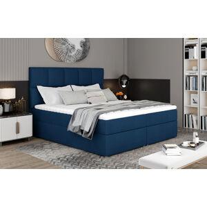 NABBI Grosio 145 čalúnená manželská posteľ s úložným priestorom tmavomodrá