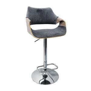 HALMAR H-98 barová stolička sivá / dub jasný / chróm