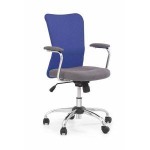HALMAR Andy detská stolička na kolieskach s podrúčkami modrá / sivá